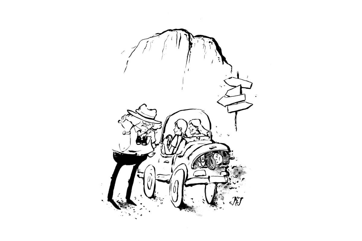Håpefulle nordmenn i Yosemite: Etter innsjekk på campen bar det rett til El Cap. Illustrasjon: Kristian T. Torsvik