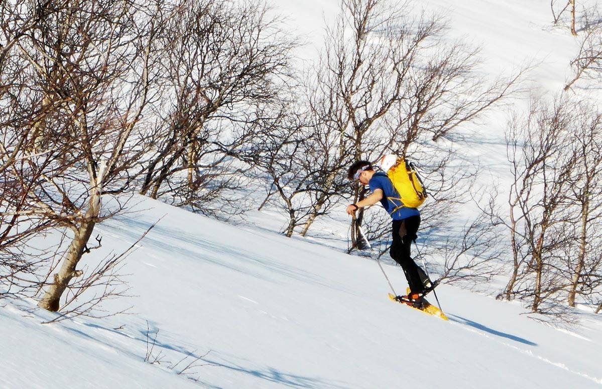 Nelson siger oppover på truger, lengtende etter nordveggens skygge. Foto: Toralf Furseth