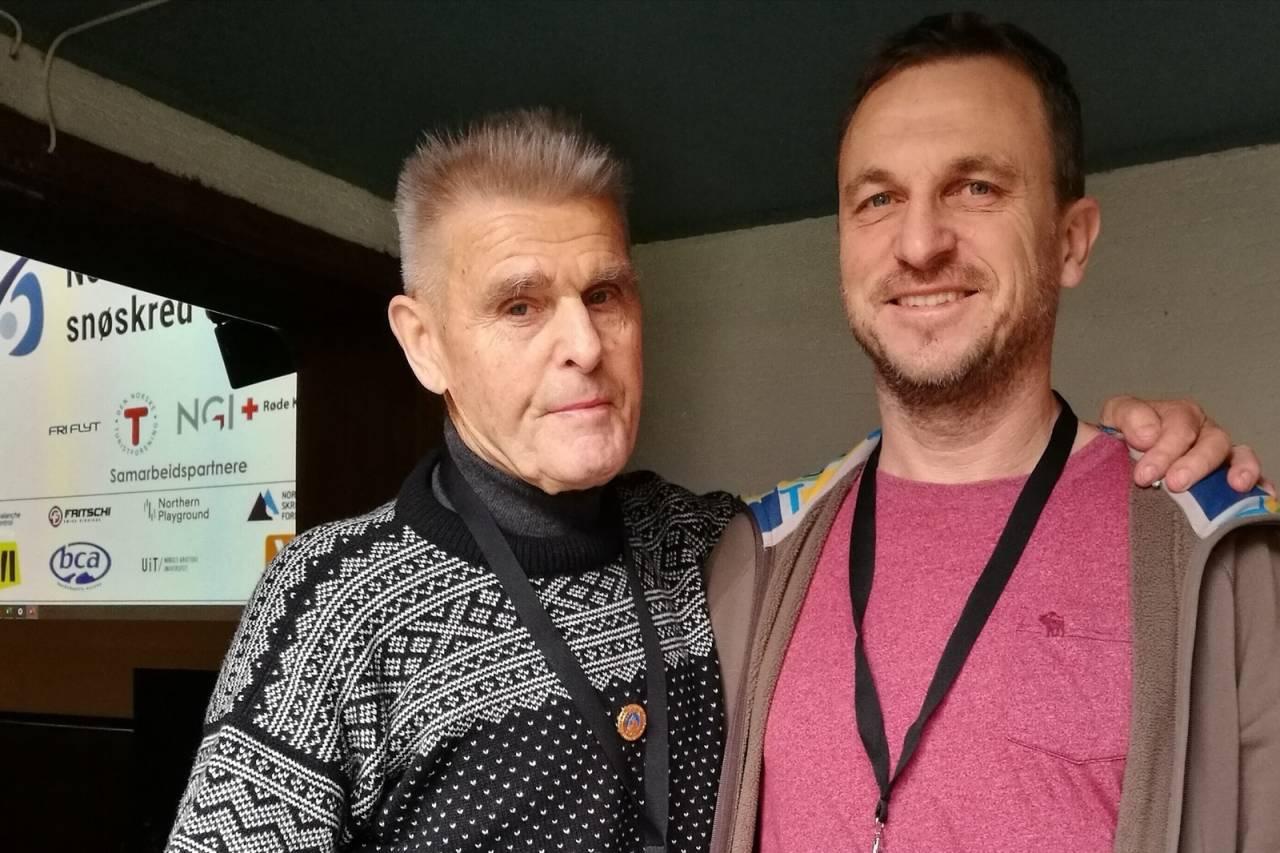 MØTE: Nils Faarlund og Sindre Bø på skredkonferansen på Voss forrige helg.