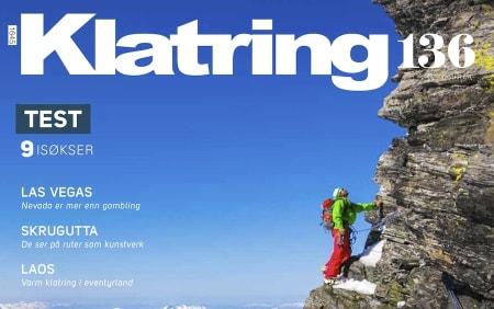 Utsnitt av coveret på nr 136. Bilde viser klatring på Gjuratind i Romsdal og fotograf er Terje Aamodt.