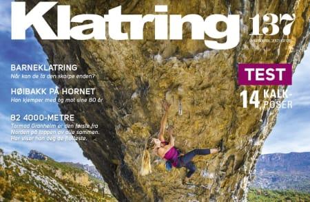 Coveret på Klatring 137 viser Rannveig Aamodt som klatrer i Rodellar.