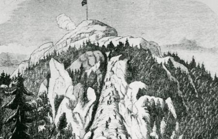 Klatring på Kolsåstoppen. Tegning fra 1852.