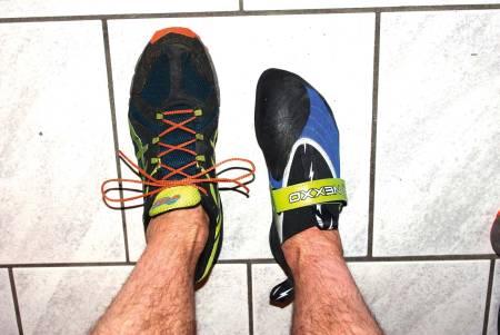 Trange sko: Veldig trange klatresko er svært belastende på tær, ledd og sener. Foto: Gudmund Grønhaug.