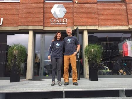Daglig leder Marthe Stensrud og styreleder Ole Bjørn utenfor Oslo Klatresenter på Skullerud. Foto: Dag Hagen
