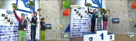 Podium for damer og herrer i Kranj. Foto fra www.ifsc-climbing.org