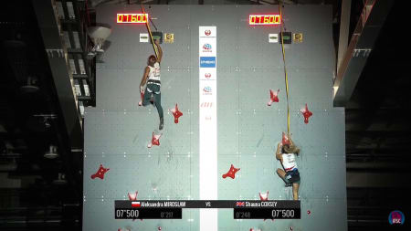 Aleksandra Miroslav er raskest i speed. Skjermdump av IFSC live-stream