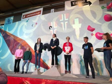 Norge tar gull og sølv i klassen youth B med Edel Lemvik og Sunniva Øvre-Eide. Foto: Kristoffer Klev
