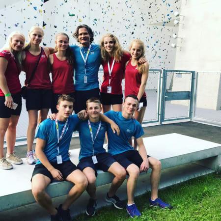 Det norske laget på plass i Innsbruck. Foto: Norges Klatreforbund
