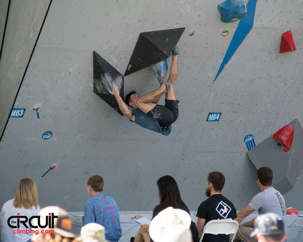 Thilo Schröter i aksjon i Vail. Foto: Eddie Fowke / The Circuit Climbing