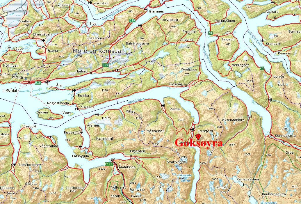 GOKSØYRA: Fjellet ligger i Nesset kommune i Møre og Romsdal.