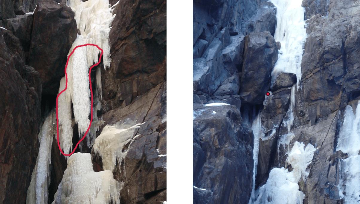 Lipton en uke før ulykken, og like etter ulykken. Den røde flekken markerer stedet der isskruen som stoppet fallet var plassert.