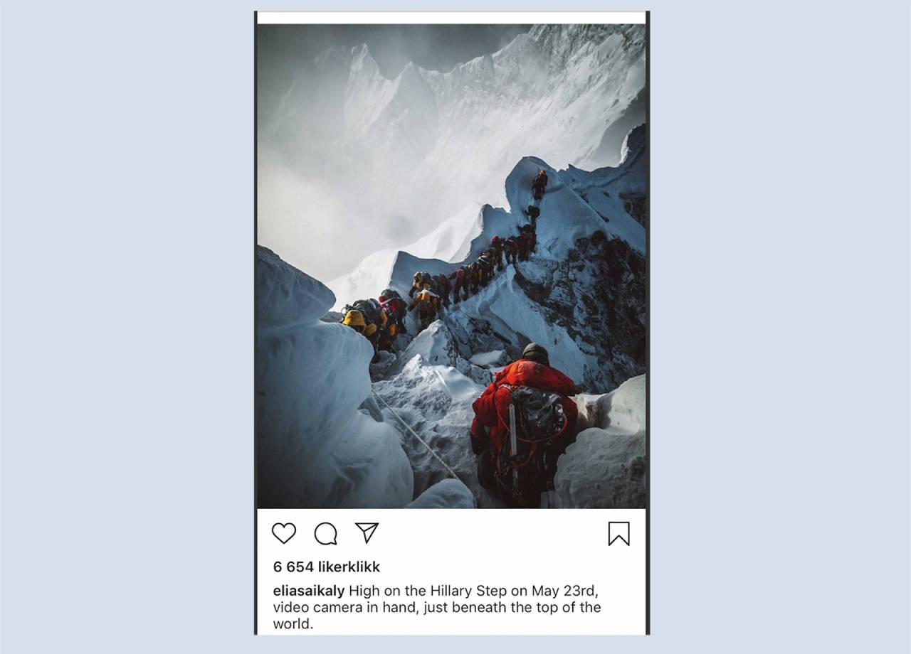 TREDJE OG SISTE GANG: Den kanadiske fotografen Elia Saikaly delte dette bildet for å illustrere det han beskriver som en horribel opplevelse på Everest. Foto: Skjermdump Instagram / Elia Saikaly