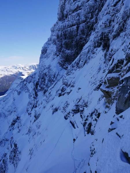 Andre isfelt sett fra stand under toppveggen. Foto: Kjetil Grimsæth.