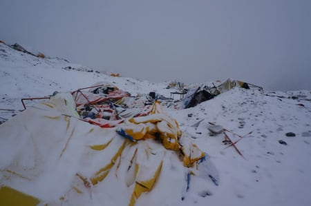 Basecamp Everest etter raset. Foto: Teodor Glomnes Johansen