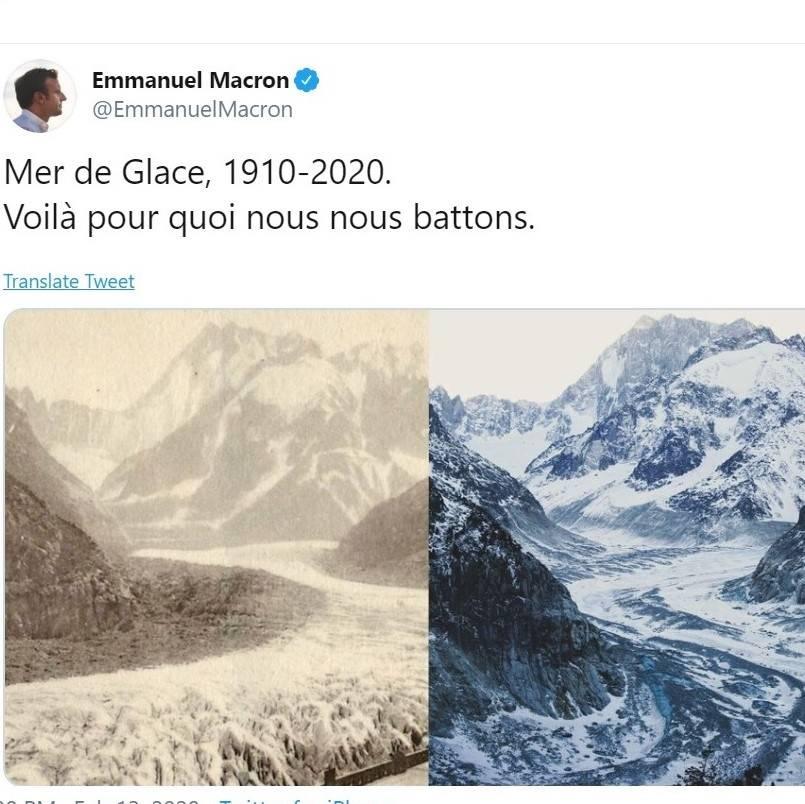 FØR OG NÅ: President Emmanuel Macron tvitrer om smeltingen av isbreen Glace de Mer. Foto: Utsnitt fra Twitter