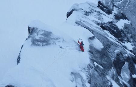 Vinterklatring på Kugelhorn. Foto: Julia Fieler