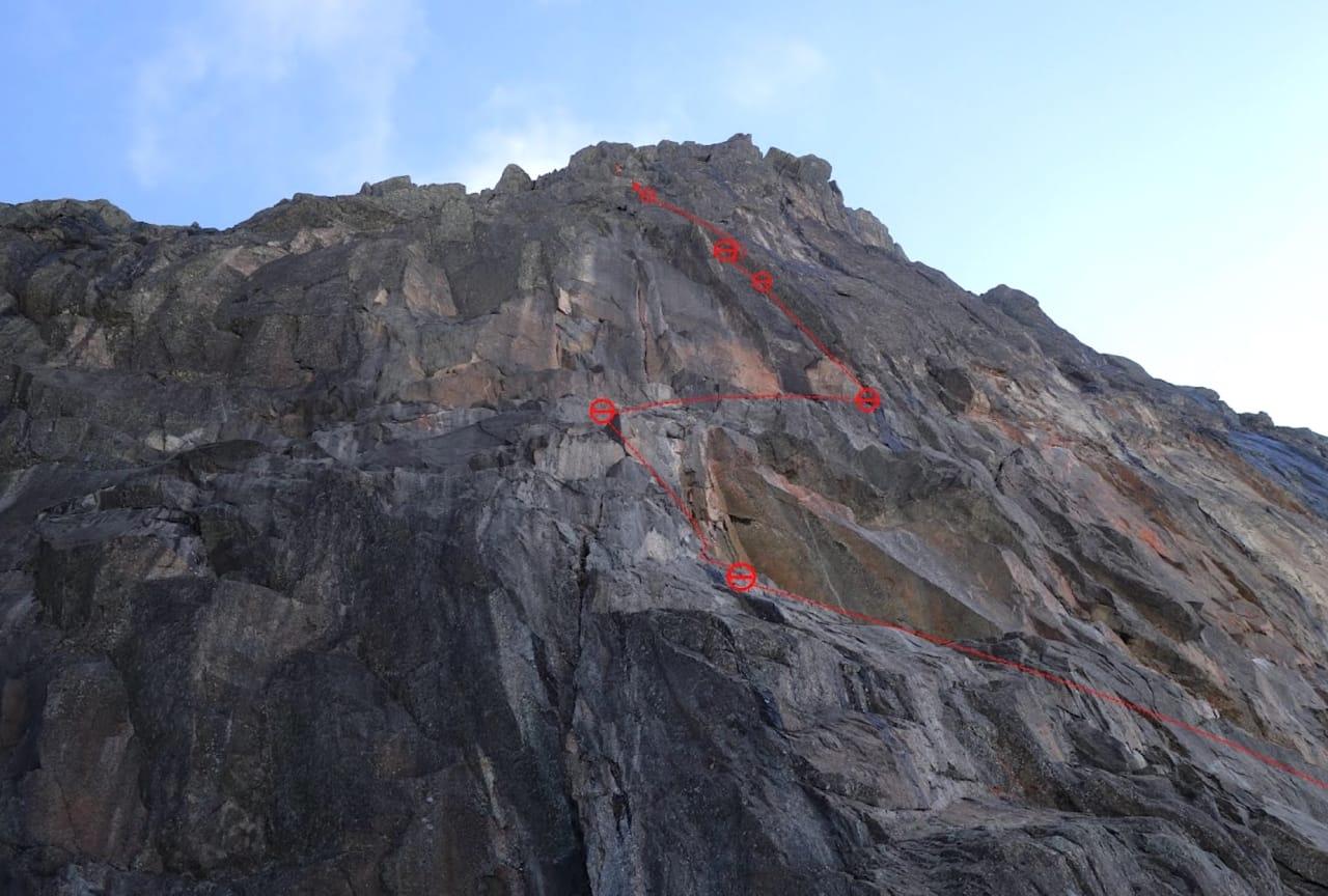 Sørveggen på Gjertvasstind. Foto: Sigbjørn Veslegard