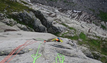 Thomas Meling følger på cruxlengen (8) på Freya. Foto: Martin Skaar Olslund
