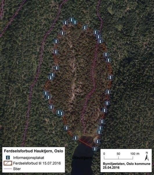 HELE HOVEDFELTET: På kartet kan man se at hele Hovedfeltet er berørt. Vi håper alle respekterer dette forbudet, skriver Oslo Klatreklubb på sin FB-side. Foto: Oslo Klatreklubb