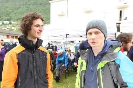 Adam Ondra og Magnus Midtbø på Veko. Foto: Dag Hagen