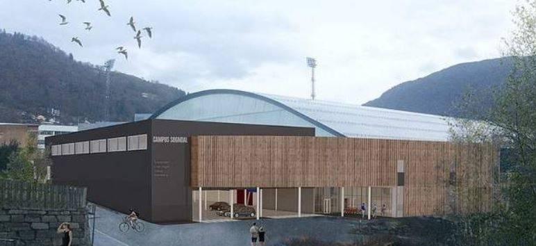 Det blir et helt nytt tilbygg på utsida av Sognahallen som gjør at Sogndal klatresenter får et massivt anlegg.