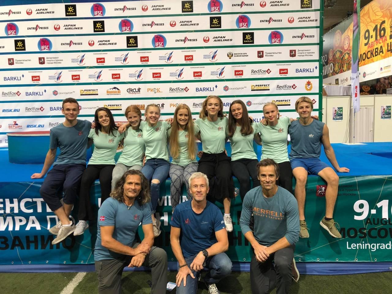 Den norske juniorlandslaget, alle bortsett fra Mia Støver Wollebæk var på plass i Brussel. Foto: Norges Klatreforbund
