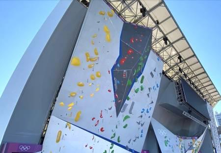 Veggen: Her skal det konkurreres i ledklatring under historiens første klatring-OL.