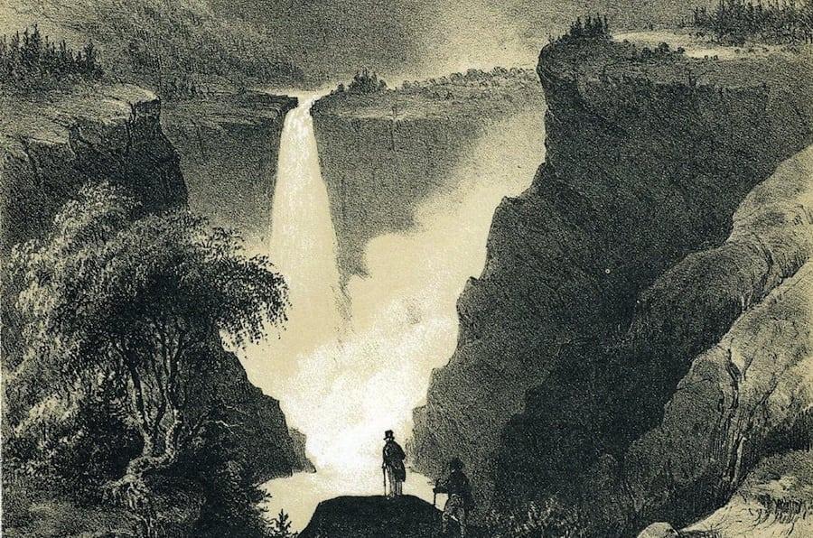 Rjukanfossen tegnet av Gustav Adolph Mordt i boka Norge fremstillet i Tegninger fra 1848 (utstnitt).