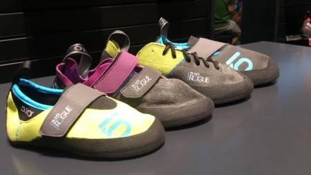 Five Ten Rogue er en serie komfortable sko for de som (foreløpig) ikke har ambisjoner om de hardeste bestigningene. Fire varianter: For barn (t.v.),  i borrelåsversjon, i lisseversjon og i tøffelversjon.