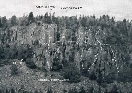 Rutetegning:  Østveggen. Fra Norsk Fjellsport 1948. Foto: Jan WIkborg