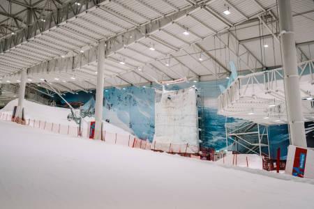 Isveggen er plassert i høyre del av anlegget på SNØ. Foto: Anders Vestergård.