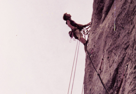 Geir Harald Samuelsen klatrer på 90-tallet.