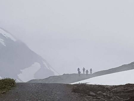 Sykling i skodda i Koldedalen. Foto: Steinar Laumann