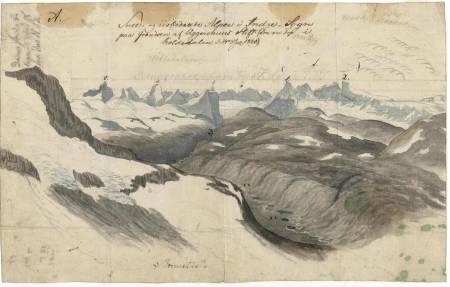 """Utsikten vestover mot Hurrungane. Baltazar Mathias Keilhau: """"Erindring af Fjeldreisen i 1820. Tilegnet min Ven Boeck. Keilhau. Christiania 1821."""""""