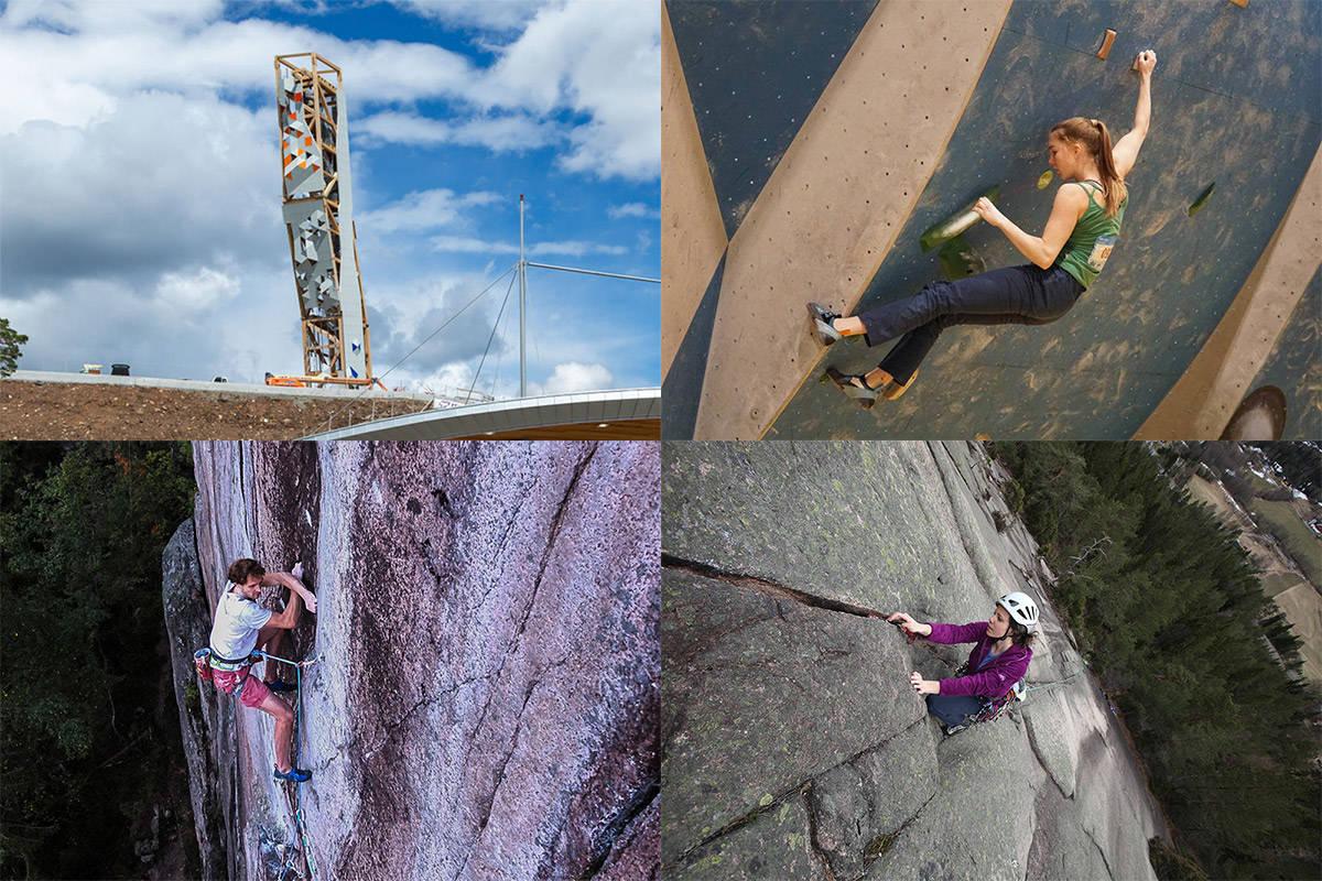FIRE AV TI: Klatretårnet i Lillesand, krimping for barn, lange, naturlige ruter og etablering av 9a-rute på Bergflødt er alle representert på Klatrings topp 10-liste for september.