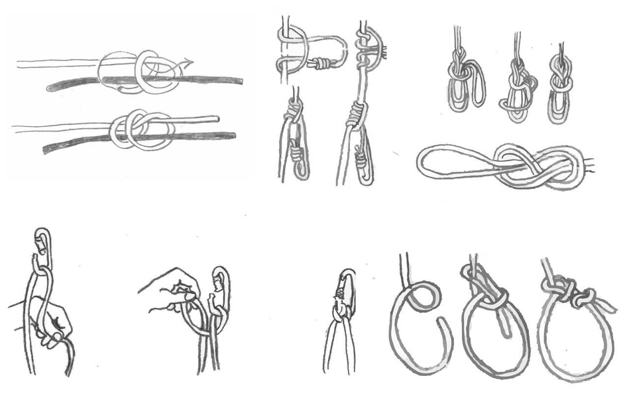 KNUTER: De riktige knutene må du beherske for å drive med klatring. Her er noen av de viktigste knutene.